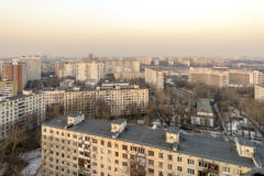 Modern residential high-rise houses in new districts of Moscow.  Royalty Free Stock Photos