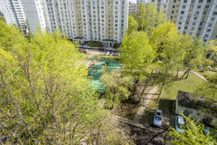 Modern residential high-rise houses in new districts of Moscow.  Royalty Free Stock Image