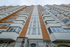 Modern residential high-rise houses in new districts of Moscow.  Royalty Free Stock Photography
