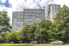 Modern residential high-rise houses in new districts of Moscow Royalty Free Stock Photography