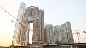 Modern residential and office buildings of skyscrapers in Hong Kong. Achievements in the field of construction of the stock photography