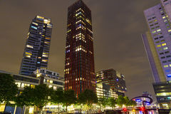 Modern residential tower in Rotterdam at night, Netherlands Stock Images