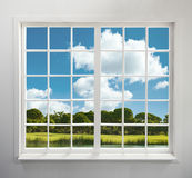Residential window with lake and forest view stock images