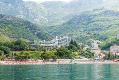 The modern resort area with new hotels in Budva on the Adriatic. Montenegro Stock Photos