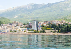 The modern resort area with new hotels in Budva on the Adriatic. Montenegro Stock Photo