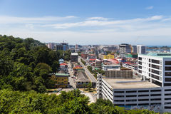 Modern resort town bordering the jungle. Malaysia Royalty Free Stock Photo