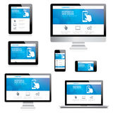 Modern responsive web design computer, laptop, tab. Let and smartphone vectors on white