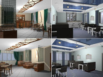 modern restaurang för tolkning 3D Fotografering för Bildbyråer