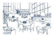 Modern restaurant or cafe interior furnished with elegant tables, chairs, pendant lights hand drawn in monochrome colors. Freehand sketch of bistro full of Royalty Free Stock Photo