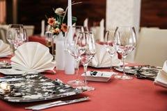 Modern restaurant dinner table. Table set in a modern restaurant Stock Photography
