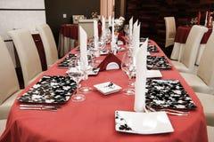 Modern restaurant dinner table. Modern restaurant interios, tables set for dinner Stock Photography