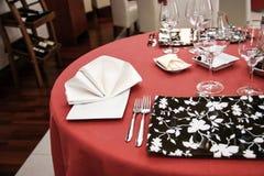Modern restaurant dinner table. Modern restaurant interios, tables set for dinner Royalty Free Stock Image
