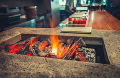 Modern restaurant with fireplace stock photos