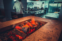 Modern restaurant with fireplace royalty free stock photography