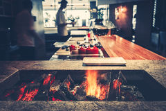 Modern restaurant with fireplace royalty free stock photo