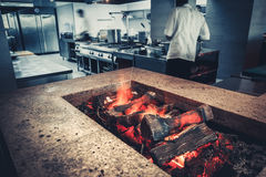 Modern restaurant with fireplace stock photo