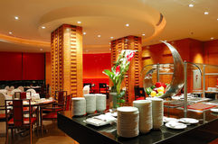 Modern restaurant interior in night illumination Royalty Free Stock Photos