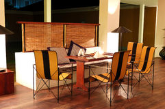Modern restaurant interior at night illumination Stock Image