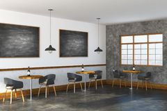 Modern restaurant interior side. Side view of modern restaurant interior with empty chalkboards, lighting, furniture and window with city view. Mock up, 3D Royalty Free Stock Photography