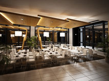 Modern restaurant interior view. Night time scene with warm artificial lighting, mirrors and plants all around. No people royalty free stock photos