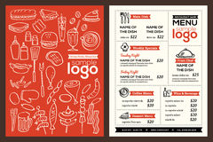 Modern Restaurant menu cover design pamphlet vector template. With foods doodle illustration Stock Image