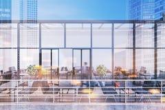 Modern restaurant op het dak, het grote stadsleven Royalty-vrije Stock Fotografie