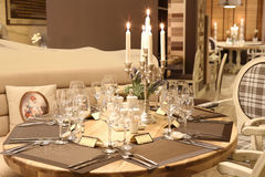 Modern restaurant table decoration Royalty Free Stock Images