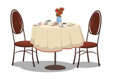 Modern restaurant table with tablecloth, coffe mugs, flowers, and two chairs. Bright colored cartoon vector illustration. Modern restaurant table with tablecloth Stock Image