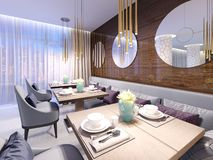 Modern restaurant with wooden decorative wall and round mirrors. Gold pendant lights. Purple sofa and chairs with tables. Served. Tables. 3d rendering royalty free illustration
