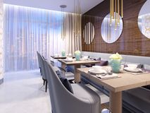 Modern restaurant with wooden decorative wall and round mirrors. Gold pendant lights. Purple sofa and chairs with tables. Served. Tables. 3d rendering stock illustration