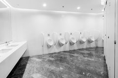 Modern restroom interior with urinal row Stock Image