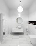Modern restroom interior stock image