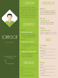 Modern resume curriculum vitae in green with stripes Stock Photo