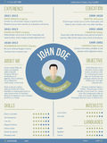 Modern resume curriculum vitae with photo and name in center Royalty Free Stock Photography