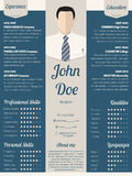 Modern resume cv template in blue Royalty Free Stock Image