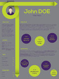 Modern resume cv template with curly arrows Royalty Free Stock Photography