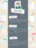 Modern resume cv template with tapes and post its Stock Images