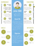 Modern resume design in green and blue Stock Image