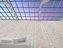 Modern retro attic interior without people. Royalty Free Stock Photo