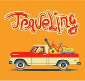 Modern retro bil för vektor Turismdesign lopp för toy för bilEuropa översikt Royaltyfria Bilder