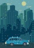 Modern retro bil för vektor Turismlägenhetdesign lopp för toy för bilEuropa översikt Royaltyfria Bilder