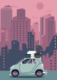 Modern retro bil för vektor Turismlägenhetdesign lopp för toy för bilEuropa översikt Royaltyfri Bild
