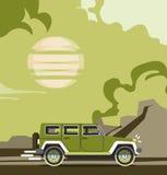 Modern retro blå jeepbakgrund för vektor Turismdesign Royaltyfria Bilder