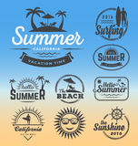 Modern retro insignia for summer holidays. Beach party, surfing and nautical vector design | Enjoy summer | Hello Summer | Summer Travel Decoration. Vector Royalty Free Stock Image