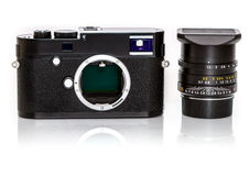 Modern retro mirrorless Digital Camera from back, Isolated On Wh Stock Photo
