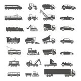 Modern and retro transport silhouettes Stock Photography