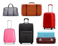Modern Retro Travel Luggage Realistic Set. Business and family vacation travel luggage with handbag baggage modern and retro items collection realistic vector Royalty Free Stock Photo