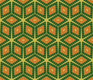 Modern rhombus seamless pattern in green and orange colors Royalty Free Stock Photo