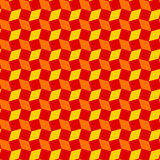 Modern rhombus and square shapes seamless pattern of red, orange and yellow colors Royalty Free Stock Photos