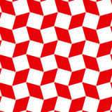 Modern rhombus and square shapes seamless pattern of red and white colors Stock Images